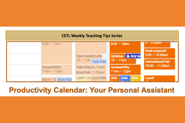 Productivity Calendar Teaching Tip