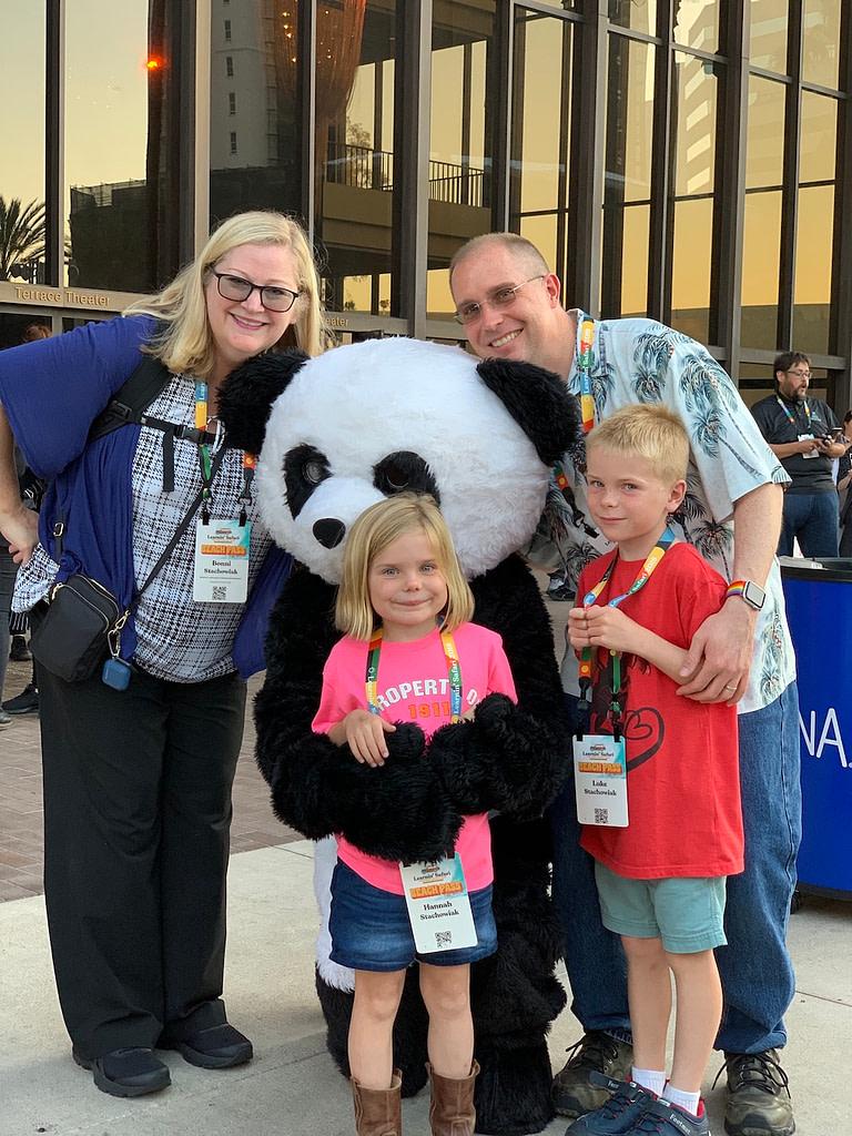 Stachowiak family with Canvas Panda mascot