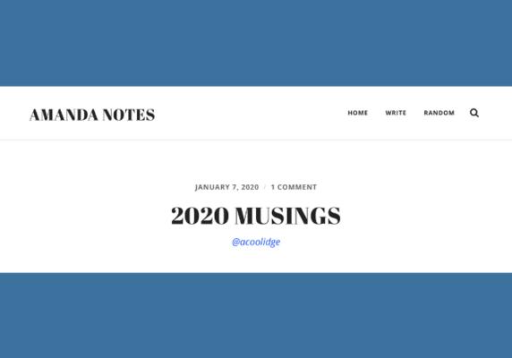 Amanda Coolidge's 2020 Musings
