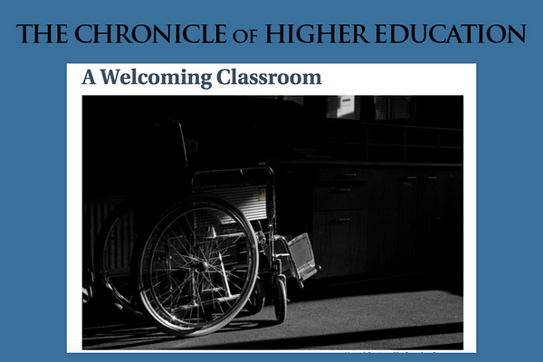 James Lang's A Welcoming Classroom in The Chronicle of Higher Education