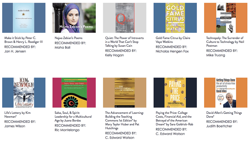 recommended books screenshot