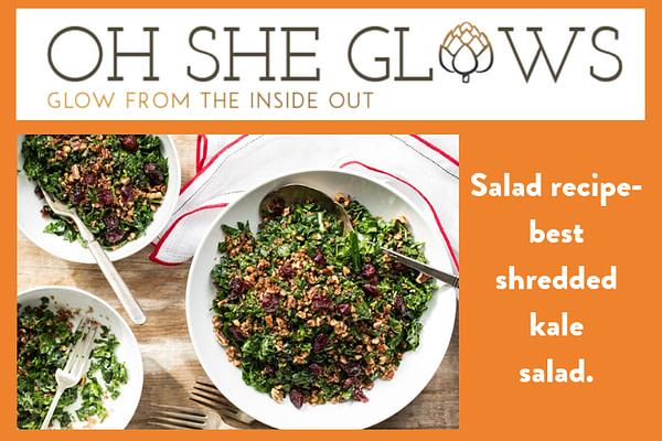 Salad recipe - OSheGlows. best shredded kale salad.