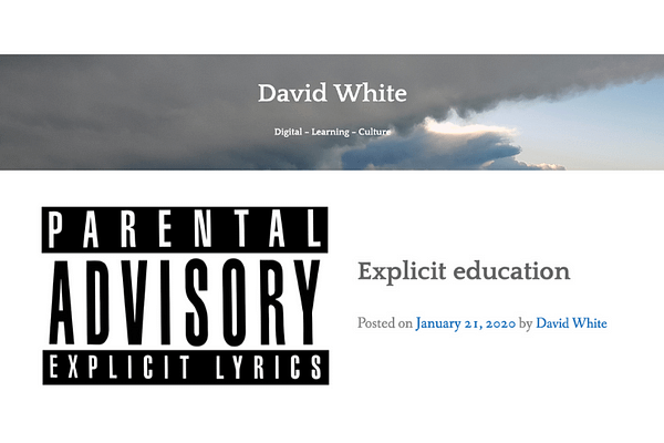 Explicit education, by David White