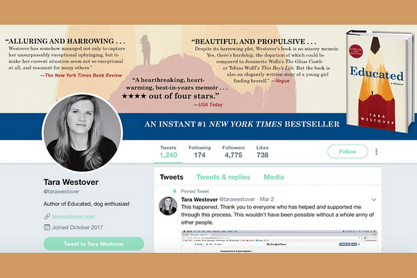Follow Tara Westover (Author of Educated: A Memoir) on Twitter