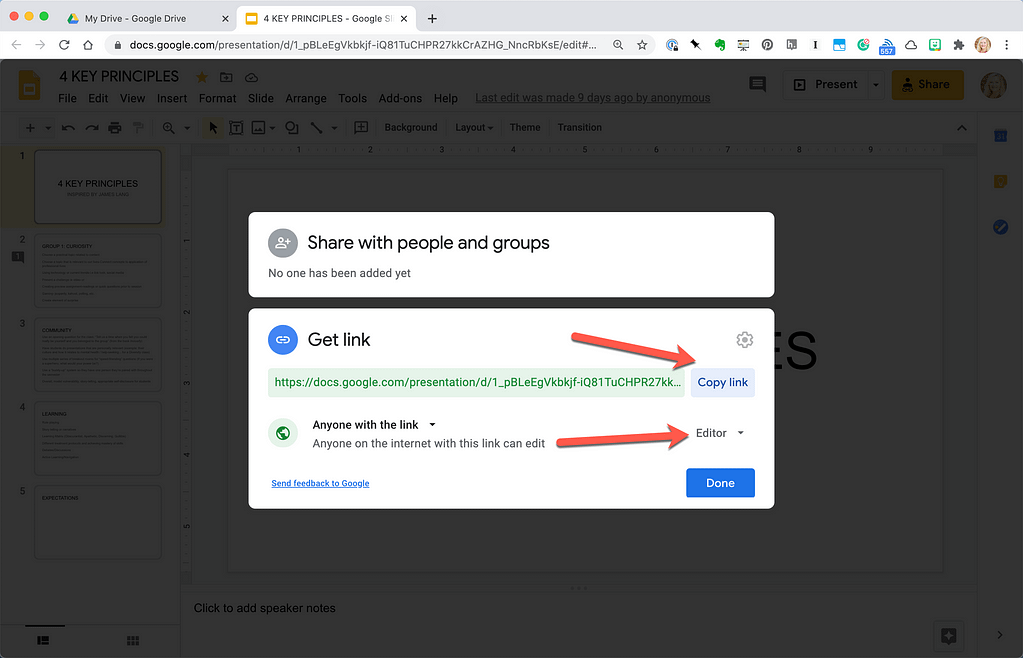 Share Google link with students