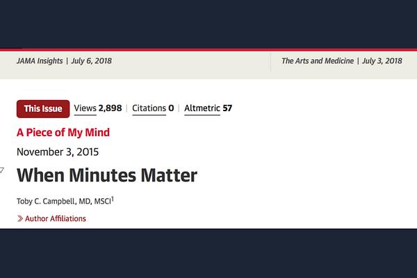 Campbell TC. When Minutes Matter. JAMA. 2015