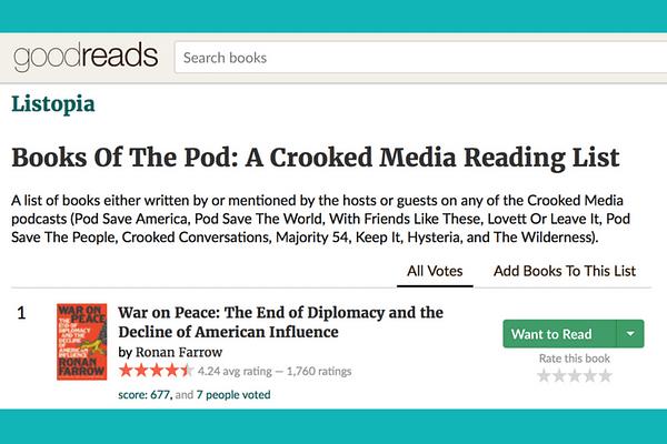 Listopia: Books of the Pod - A Crooked Media Reading List