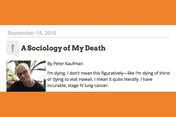 A Sociology of My Death, by Peter Kaufman