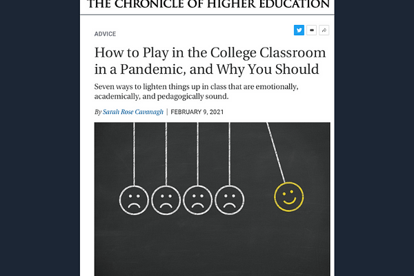 How to Play in the College Classroom, by Sarah Rose Cavanagh