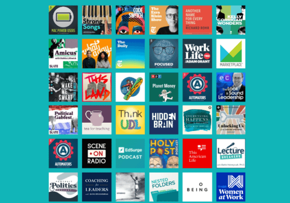 2021 Favorite Podcasts (collection of podcast logos)