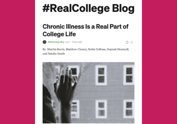 Chronic Illness Is a Real Part of College Life, by Martha Burtis, Matthew Cheney, Robin DeRosa, Hannah Hounsell, and Natalie Smith