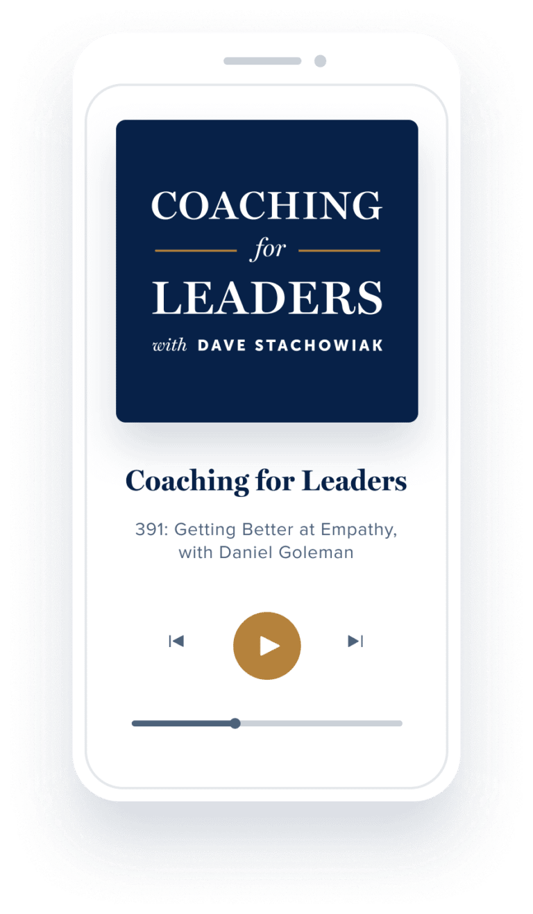 coaching for leaders podcast on phone