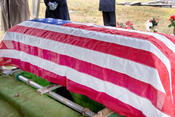 Flag Draped Coffin