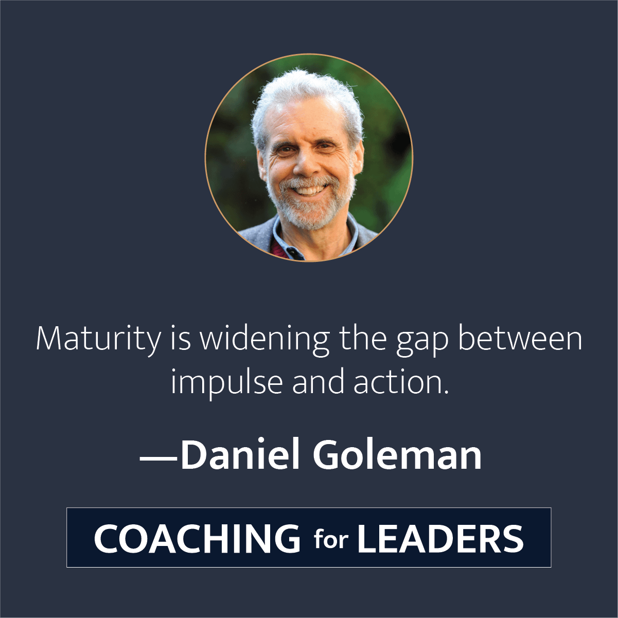 Maturity is widening the gap between impulse and action.
