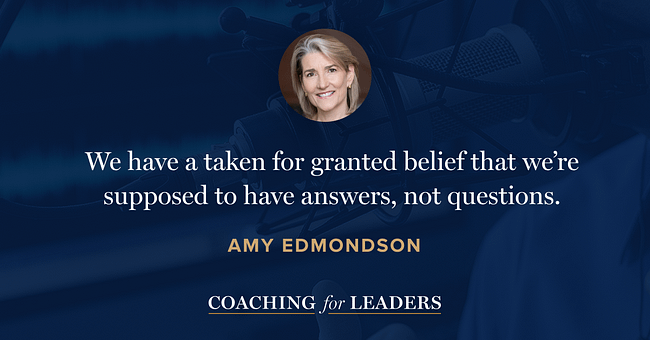 We have taken for granted a belief that we're supposed to have answers, not questions.