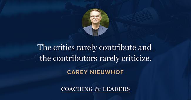 The critics rarely contribute and the contributors rarely criticize.
